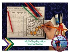 This resource is a SIX station activity focused on Solving Multi-Step equations including negative numbers, distributive property, fractions, combining like terms, and variables on both sides. The following six stations will help to review and reinforce the following standards: Combining Like Terms, Algebra Equations, Negative Numbers, Distributive Property, Math Stations, Variables, Fractions, Middle School, Activities