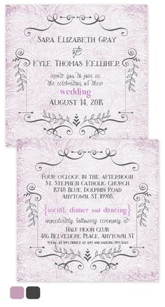 This beautiful 6 x 6 wedding invitation has charm, the cuteness factor and a whole lot more!    Printed front and back with your wedding