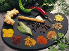 10 Top Healing Herbs & Spices:  • Tumeric   anti-inflammatory & prevents growth of cancer cells  • Cinnamon   reduce blood sugar levels & lowers bad cholesterol  • Ginger   nausea & motion sickness  •  Holy Basil   De-stressor  •  Garlic   Anti-viral  •  Cumin   blood purifier & stomach cramps  •  Saffron   antioxident & anti-depressant   •  Cardamom   stomach cramps & improved circulation to lungs  •  Mint   IBS & anti-fungal
