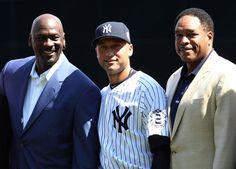 An emotional moment at Yankee Stadium; Michael Jordan, Derek Jeter & Dave Winfield
