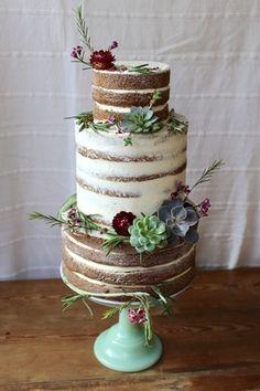 Naked/Semi-Naked succulent three tier Wedding Cake by www.hackneyyolk.com