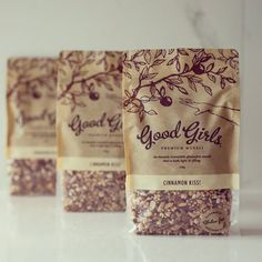 Good Girls Wholefoods #packagingdesign #foodphotography #muesli #packaging curated by Copious Bags