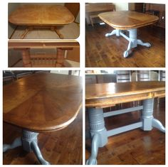 Before and after project.    Old oak table to new fabulous dark stain top and monument grey base.