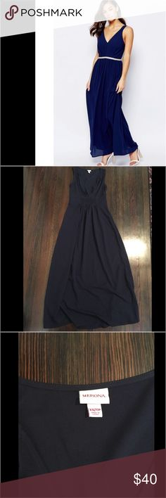 """Merona navy blue maxi dress So cute, only worn once! Stock photo is a different dress but included to show fit and style. Tag says XS, but I have listed as XSP because dress runs short. I am 5'3"""" and dress was about 2"""" off the ground. Merona Dresses Maxi"""