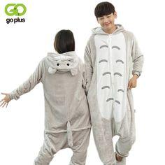 GOPLUS Winter Onsie Cartoon Totoro Adult Animal Sleepwear Flannel Animal Pajamas OnePpiece Cosplay Totoro Couple Pajamas Mujer