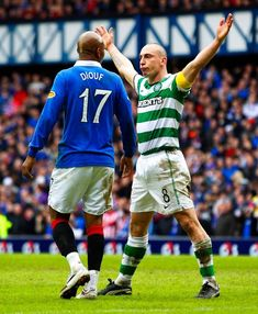 Rangers 2 Celtic 2 in Feb 2011 at Ibrox. Scott Brown made it on 65 minutes and intimidated El Hadji Diouf along the way in the Scottish Cup Round tie. Celtic Team, Celtic Fc, Old Firm, Rangers Football, Along The Way, Glasgow, 2 In, Derby, Soccer