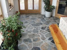 Natural Stone Flooring Ideas Benefits Of Natural Stone Tiles Natural Stone Flooring Ideas. Exterior natural stone tiles are being used for several decades now and they are getting more and more pop… Stone Tile Flooring, Entryway Flooring, Flagstone Flooring, Natural Stone Flooring, Slate Flooring, Linoleum Flooring, Flooring Options, Stone Tiles, Flooring Ideas