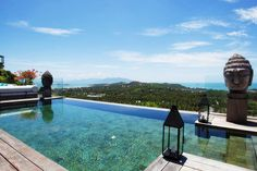 A taste of something truly special at Villa Belle, set in lush tropical surroundings on a hillside overlooking the captivating bays of Choeng Mon and Plai Laem. Designed to encompass these wide panoramic vistas of the azure Gulf -  '' Pure unadulterated Island luxury ''