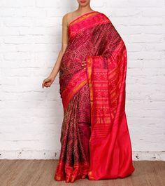 Maroon Pure Silk Patola Saree Sanskruti Silk