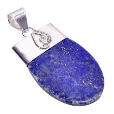 Sterling Silver Overlay Natural Blue Lapis Lazuli Gemstone Necklace Pendant Handmade Rhodium Plated Chain NLG-1367 Gift For Her Amethyst Stone, Topaz Gemstone, Turquoise Gemstone, Purple Amethyst, Gemstone Necklace, Lapis Lazuli Healing, Beautiful Necklaces, Handmade Silver, Necklace Lengths
