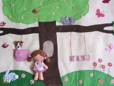 Csipke szegélyes, interaktív kislány falvédő babával és kiskutyával, lovacskákkal -  hasonló rendelhető!, Baba-mama-gyerek, Dekoráció, Gyerekszoba, Falvédő, takaró, Meska