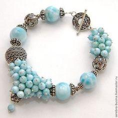 """Купить Браслет. Сокровища императора """"Бесподобный Ларимар"""" - голубой, ларимар, натуральные камни, браслет с ларимаром"""