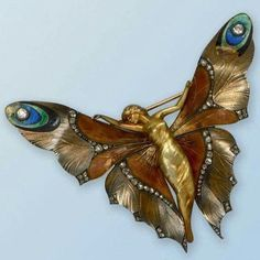 Art nouveau butterfly gold, enamel and diamond brooch, by Lucien Gaillard. #artnouveaujewelry #luciengaillard #butterflybrooch…