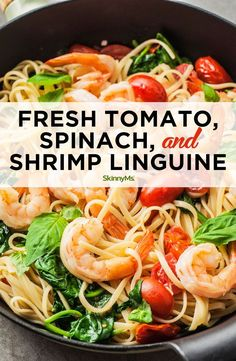 This Fresh Tomato, Spinach, and Shrimp Linguine is a light and simple pasta dish that proves you don't have to sacrifice quality ingredients for ease. pasta Fresh Tomato, Spinach, and Shrimp Linguine Shrimp Linguine, Linguine Recipes, Spinach Shrimp Pasta, Spinach And Tomato Pasta, Pasta With Shrimp, Shrimp And Spinach Recipes, Tomato Linguine, Garlic Shrimp, Clean Eating Snacks