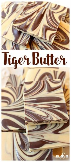 Tiger Butter made from 3 ingredients that are melted & swirled together. Gorgeous #holiday candy recipe with great peanut butter #chocolate flavor. Easy #candy recipe from Butter With A Side of Bread