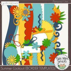 Summer Cookout Digital Scrapbook BORDER TEMPLATES
