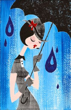 Reserved- Original Painting -When It Rains by Justin Coffee