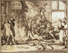 Persecution of the Huguenots according to Romeyn de Hooghe  F. Peasants are tortured and killed by dragoons in a room. Two Huguenots, hanging in the fireplace, are being burnt on a fire of Bibles and New Testaments. A woman is being forced to drink water from a funnel. In the foreground, dead children are lying next to the murder weapons of the intruders.