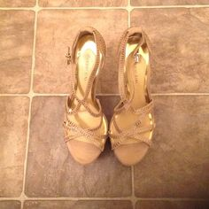 Gianni Bini Strappy  Heels Champagne in color and covered in rhinestones Gianni Bini Shoes Heels