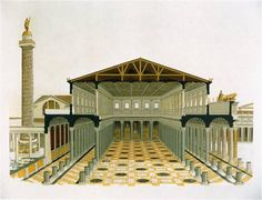 Basilica Ulpia, 45. Forum of Trajan. Rome, Italy. Apollodorus of Damascus. Forum and markets: 106–112 C.E.; column completed 113 C.E. Brick and concrete (architecture); marble (column).