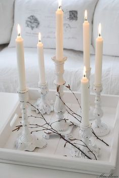 Tray & Candles Living Room White Grey Black Chippy Shabby Chic Whitewashed Cottage French Country Rustic Swedish decor Idea ***Pinned by oldattic *** Shabby Chic Christmas, White Christmas, Vintage Christmas, Swedish Christmas, White Cottage, Cottage Style, Cottage Chic, Shabby Chic Weihnachten, Chandelier Bougie