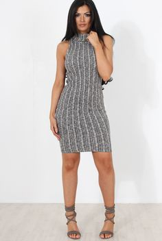 Grey Cowl Neck Knitted Dress-Jasmine