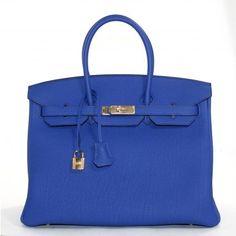 88a845045e77 Hermes pristine Bleu Electrique Togo leather 35 cm Birkin with gold  hardware. More here