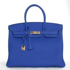 Hermes pristine Bleu Electrique Togo leather  35 cm Birkin with gold hardware. More here: http://mylusciouslife.com/luscious-loves-hermes/