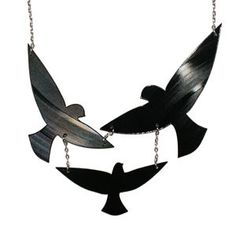 Birds In Flight Necklace made from a recycled vinyl record. Oh yes- this will be mine!!!