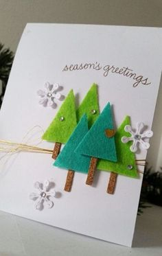Christmas Card with Die Cut Felt Trees – Christmas DIY Holiday Cards Christmas Card Crafts, Homemade Christmas Cards, Christmas Cards To Make, Homemade Cards, Holiday Crafts, Christmas Decorations, Simple Christmas, Fun Crafts, Christmas Projects