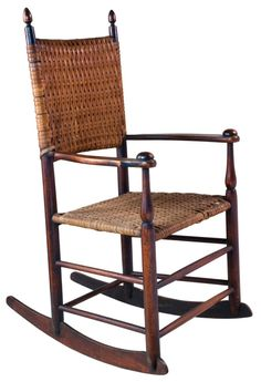 """Willis Henry Shaker Auction 9/10/16 Lot 146. Estimate: $600 - 900. Realized: $1,200.  Desc:  Rare Child's Rocking Chair, Maple, original dark walnut stained finish, acorn finials, original ash splint back & seat, curvilinear arms with mushroom caps, original Mt. Lebanon trademark decal inside right rocker, Brother Robert Wagan's Production Chair """"1"""", Mt. Lebanon, NY, c. 1880-90, 12 1/2″ seat h, 29″ overall h."""