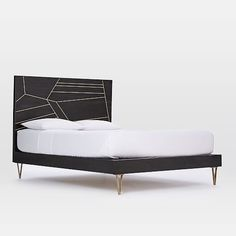 Creative firm Roar + Rabbit's designs blend modern style with whimsical details. We worked with them to create this Geo Inlay Bed. Antique brass-finished metal is inlaid into wood for a luxe look with geometric texture and subtle shine. Teen Furniture, Modern Furniture, Cool Basement Ideas, Bedroom Photos, Full Bed, Traditional Furniture, King Beds, Home Accessories, Bedroom Decor