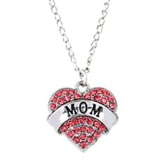 MOM Pink Australian Crystal Heart Charm Necklace Engraved Silver Plated  #HandmadewithLove #Pendant