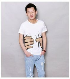 Men's Scoop Neck Catch Printed Short Sleeves Cotton Summer Casual T-Shirt
