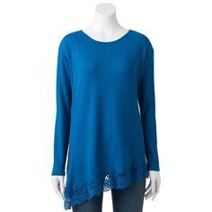 Women's French Laundry Lace Asymmetrical-Hem Top, Size: Medium, Dark Blue