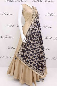 Beige Soft Silk Outfit with Gorgeous Dupatta From Palkhi Fashion Indian Gowns Dresses, Indian Fashion Dresses, Dress Indian Style, Indian Designer Outfits, Indian Outfits, Designer Dresses, Evening Dresses, Simple Dresses, Beautiful Dresses