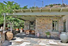 The terrace Summer Houses, Greek Islands, Terrace, Pergola, Outdoor Structures, Patio, Outdoor Decor, Room, Home Decor