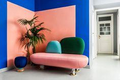 Masquespacio's studio Colours salmon and green with majenta purple?
