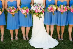 Kennedy Events and Design www.kennedyeventsanddesign.com  Marcella Treybig Photography marcellatreybigblog.com   Pink and blue wedding, cornflower blue bridesmaids dresses, Bill Levkoff, peonies, bouquet at PB Dye Golf Club in Frederick, MD. Flowers by Petals by the Shore.