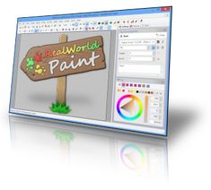 RealWorld Paint screenshot. This is not Photoshop, but if you know Photoshop, you can accomplish much with RealWorld Paint, which also will run some of your favorite 8bf photoshop type filters. Layers and decent text  handling too! Good enough for most web work, at any rate.