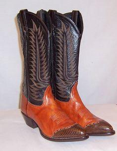 Vintage Tony Lama Cowboy Boots in Burnt Sienna & Brown