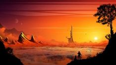 Trading Tower by kvacm on DeviantArt Big Moon, Dwarf Planet, Our Solar System, Interstellar, Milky Way, Fields, Planets, Digital Art, Tower