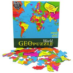 Geopuzzle World - Toys 2 Learn  $17.95 Classical Education, Gifted Education, Problem Solving Skills, Educational Toys, Activities For Kids, Map Puzzle, Montessori Classroom, World Geography, Jigsaw Puzzles