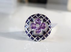New Ross Simons STERLING SILVER Purple Enamel Heart Cut Amethyst Ring Size 8 #RossSimons #Cocktail
