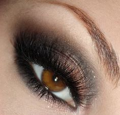 bronze & ash shades, black liner & lashes