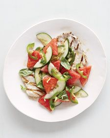 We think of watermelon as the stuff of fruit salads, but it's also great in savory ones. In this Vietnamese- and Thai-inspired recipe, melon and cucumber are the cool contrast to sliced chile and grilled pork (chicken works, too).