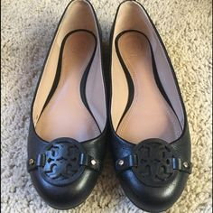 Tory Burch Miller Black Leather Flats Only worn once. In amazing condition. Size 8 Tory Burch Shoes Flats & Loafers