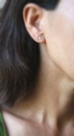 Tiny Star Stud Earrings in 14k Yellow or by MichelleChangJewelry