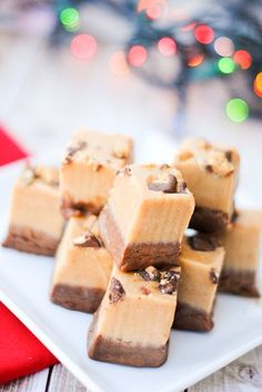 Perfect peanut butter and chocolate fudge recipe has a layer of