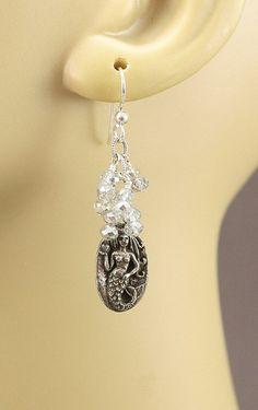 "Mermaid Earrings Artisan Pewter ""Love Bravely"" Neutral Clear Silver Crystal Dangles Mermaid Jewelry Boho Chic"